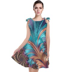 Feather Fractal Artistic Design Tie Up Tunic Dress by Pakrebo