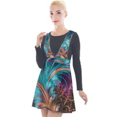 Feather Fractal Artistic Design Plunge Pinafore Velour Dress by Pakrebo
