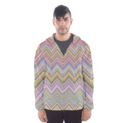 Chevron Colorful Background Vintage Hooded Windbreaker (men) by Pakrebo