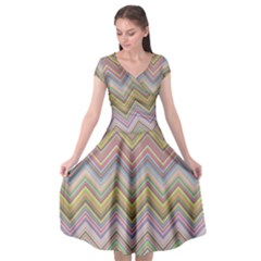 Chevron Colorful Background Vintage Cap Sleeve Wrap Front Dress by Pakrebo