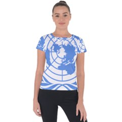 Blue Emblem Of United Nations Short Sleeve Sports Top