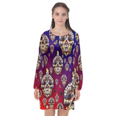 Carnival Of Souls   By Larenard Long Sleeve Chiffon Shift Dress