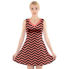 Chevron  Effect In Living Coral V Neck Sleeveless Dress by TimelessFashion