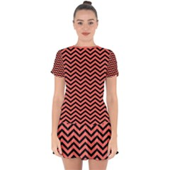 Chevron  Effect In Living Coral Drop Hem Mini Chiffon Dress by TimelessFashion