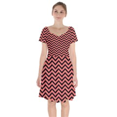 Chevron  Effect In Living Coral Short Sleeve Bardot Dress by TimelessFashion