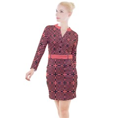 Living Coral Blocks Button Long Sleeve Dress by TimelessFashion