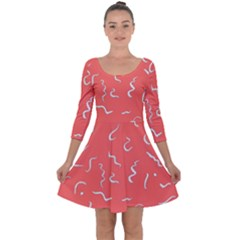 Living Coral Scribbles Quarter Sleeve Skater Dress by TimelessFashion
