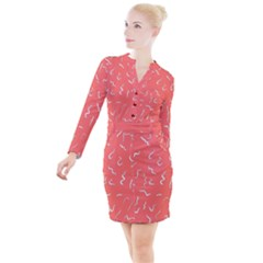 Living Coral Scribbles Button Long Sleeve Dress by TimelessFashion