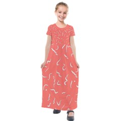 Living Coral Scribbles Kids  Short Sleeve Maxi Dress by TimelessFashion