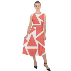 Living Coral Triangles Midi Tie Back Chiffon Dress by TimelessFashion