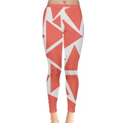 Living Coral Triangles Inside Out Leggings by TimelessFashion