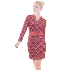 Damask Black On Living Coral Button Long Sleeve Dress by TimelessFashion