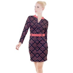 Damask Living Coral On Black Button Long Sleeve Dress by TimelessFashion
