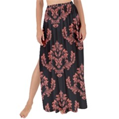 Damask Living Coral On Black Maxi Chiffon Tie Up Sarong by TimelessFashion