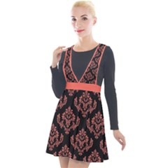 Damask Living Coral On Black Plunge Pinafore Velour Dress by TimelessFashion