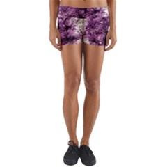 Amethyst Purple Violet Geode Slice Yoga Shorts by genx