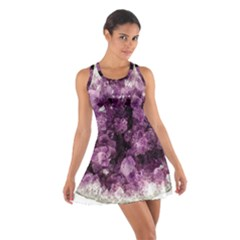 Amethyst Purple Violet Geode Slice Cotton Racerback Dress by genx