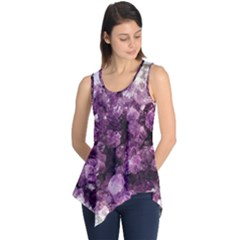 Amethyst Purple Violet Geode Slice Sleeveless Tunic by genx
