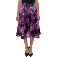 Amethyst Purple Violet Geode Slice Perfect Length Midi Skirt by genx