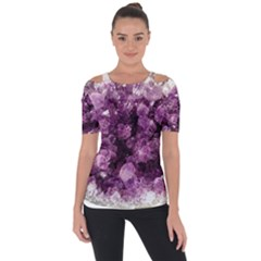 Amethyst Purple Violet Geode Slice Shoulder Cut Out Short Sleeve Top by genx
