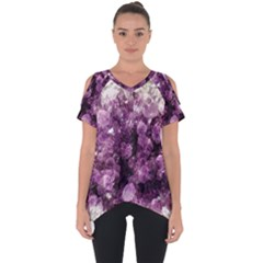 Amethyst Purple Violet Geode Slice Cut Out Side Drop Tee by genx