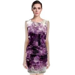 Amethyst Purple Violet Geode Slice Sleeveless Velvet Midi Dress by genx