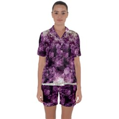 Amethyst Purple Violet Geode Slice Satin Short Sleeve Pyjamas Set by genx