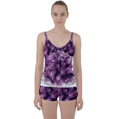 Amethyst Purple Violet Geode Slice Tie Front Two Piece Tankini by genx