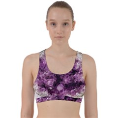 Amethyst Purple Violet Geode Slice Back Weave Sports Bra by genx