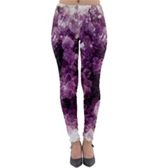 Amethyst Purple Violet Geode Slice Lightweight Velour Leggings by genx