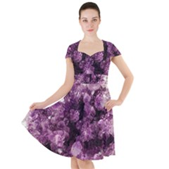 Amethyst Purple Violet Geode Slice Cap Sleeve Midi Dress by genx
