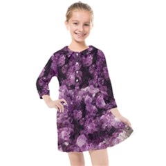 Amethyst Purple Violet Geode Slice Kids  Quarter Sleeve Shirt Dress by genx