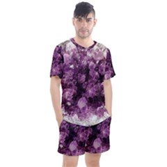 Amethyst Purple Violet Geode Slice Men s Mesh Tee And Shorts Set by genx