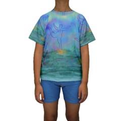 Power Of 3 Kids  Short Sleeve Swimwear by PurpleDuckyDesigns