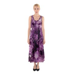 Amethyst Purple Violet Geode Slice Sleeveless Maxi Dress by genx