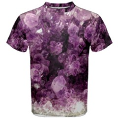 Amethyst Purple Violet Geode Slice Men s Cotton Tee by genx