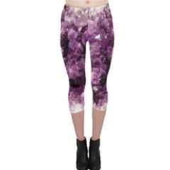 Amethyst Purple Violet Geode Slice Capri Leggings  by genx