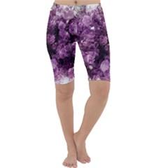 Amethyst Purple Violet Geode Slice Cropped Leggings  by genx