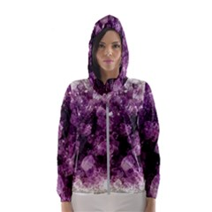 Amethyst Purple Violet Geode Slice Hooded Windbreaker (women) by genx