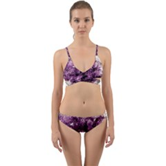 Amethyst Purple Violet Geode Slice Wrap Around Bikini Set by genx