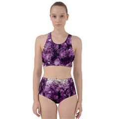 Amethyst Purple Violet Geode Slice Racer Back Bikini Set by genx