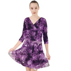 Amethyst Purple Violet Geode Slice Quarter Sleeve Front Wrap Dress by genx
