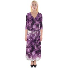 Amethyst Purple Violet Geode Slice Quarter Sleeve Wrap Maxi Dress by genx