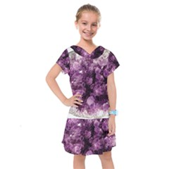 Amethyst Purple Violet Geode Slice Kids  Drop Waist Dress by genx