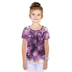 Amethyst Purple Violet Geode Slice Kids  One Piece Tee by genx