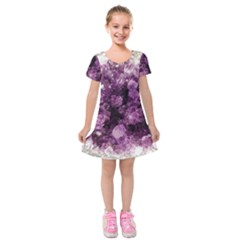 Amethyst Purple Violet Geode Slice Kids  Short Sleeve Velvet Dress by genx