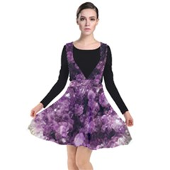 Amethyst Purple Violet Geode Slice Plunge Pinafore Dress by genx