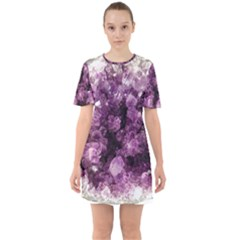 Amethyst Purple Violet Geode Slice Sixties Short Sleeve Mini Dress by genx