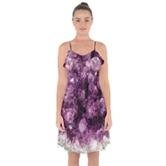 Amethyst Purple Violet Geode Slice Ruffle Detail Chiffon Dress by genx