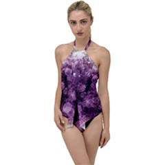Amethyst Purple Violet Geode Slice Go With The Flow One Piece Swimsuit by genx